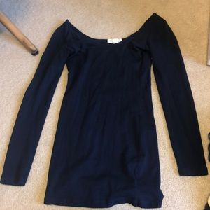 Basic navy blue long sleeve fitted dress